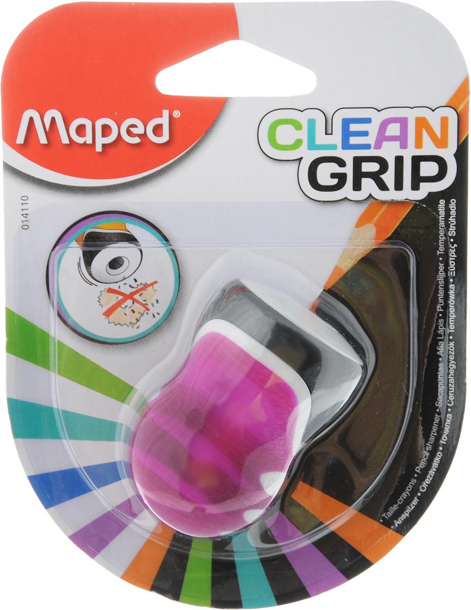 Maped Точилка Clean Grip цвет фуксияFS-00897Точилка Maped Clean Grip имеет одно отверстие. Оснащена автоматическим открытием и закрытием. Нескользящая фактура изготовлена для удобства удержания в руке. Подходит для всех видов стандартных карандашей.
