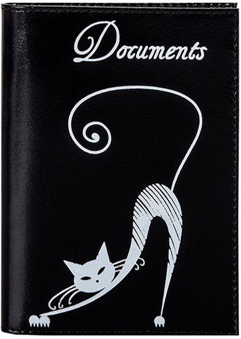 Бумажник водителя женский Fabula Cats, цвет: черный. BV.35.SHBV.35.SH.черныйБумажник водителя из коллекции Cats выполнен из натуральной кожи. На внутреннем развороте 2 кармана из прозрачного пластика, внутренний блок для документов водителя (6 карманов).