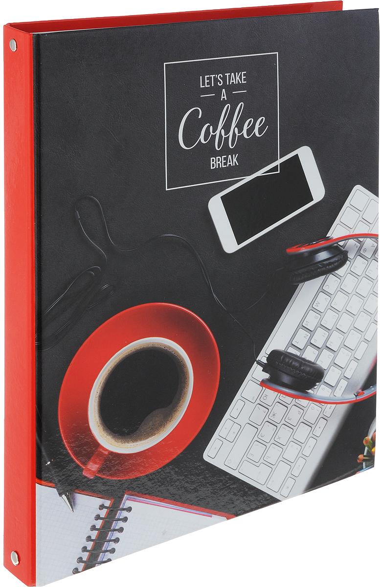 ArtSpace Тетрадь на кольцах Офис Coffee 100 листов в клетку цвет красный черныйТК100А4_10119_красный, черныйТетрадь на кольцах ArtSpace Офис Coffee отлично подойдет для хранения важных записей по учебе, работе или для повседневных заметок.Обложка тетради выполнена из плотного картона и оформлена изображением чашечкой кофе. Внутренний блок состоит из 80 листов качественной белой бумаги в клетку без полей. Листы в блоке крепятся на четырех металлических кольцах.