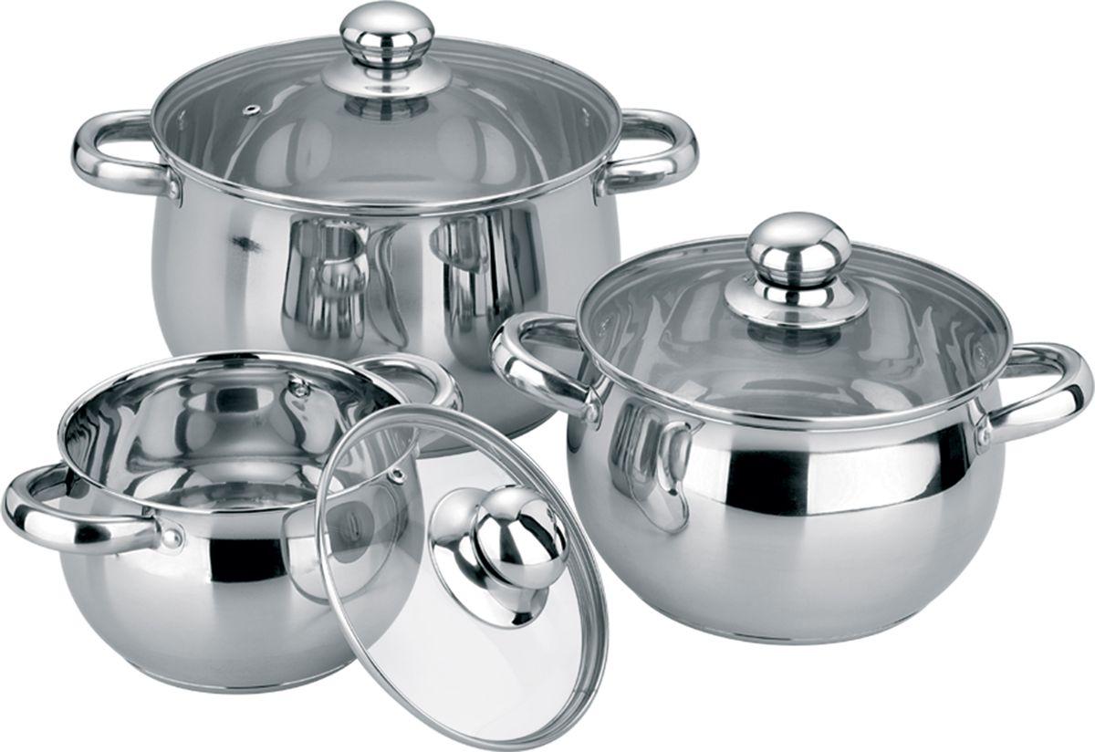 Набор посуды Bohmann, 6 предметов. 0503BH/40503BH/4Набор посуды 6 предметов. Стеклянные крышки с пароотводом. Состав: Кастрюля с крышкой O16х10.0 см – 2.0л; O20х12.0 см – 3.5л; O24х14.0см – 6.0л; Капсулированное дно.Подходит для всех видов плит (включая индукционную) и для духового шкафа. Внутренняя и внешняя зеркальная полировка.
