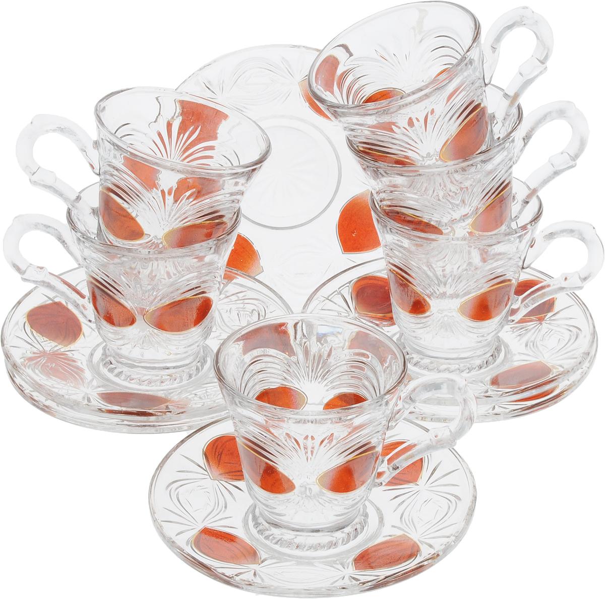 Набор чайный Loraine, 12 предметов. 29932993Чайный набор Loraine состоит из шести чашек и шести блюдец. Изделия выполнены из высококачественного стекла и оформлены изящным орнаментом. Такой набор прекрасно дополнит сервировку стола к чаепитию. Благодаря изысканному дизайну и качеству исполнения, он станет замечательным подарком для ваших друзей и близких. Объем чашки: 100 мл. Диаметр чашки по верхнему краю: 7 см. Высота чашки: 7 см. Диаметр блюдца: 12,5 см.