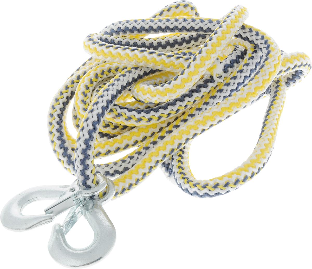 Трос-шнур альпинистский Главдор, с 2 крюками, цвет: синий, белый, желтый, диаметр 16 мм, 5 т, 4,73 мGL-253_синий,белый,желтыйАльпинистский трос Главдор представляет собой шнур из сверхпрочной полипропиленовой нити с двумя стальными крюками. Специальное плетение веревки обеспечивает эластичность троса и плавный старт автомобиля при буксировке. На протяжении всего срока службы не меняет свои линейные размеры.Трос морозостойкий и влагостойкий. Длина троса соответствует ПДД РФ.Буксировочный трос обязательно должен быть в каждом автомобиле. Он необходим на случай аварийной ситуации или если ваш автомобиль застрял на бездорожье. Максимальная нагрузка: 5 т.Длина троса: 4,73 м.Диаметр троса: 16 мм.