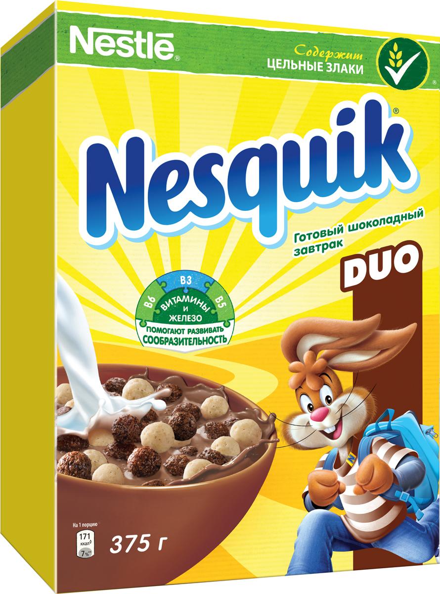 Nestle Nesquik Шоколадные шарики DUO готовый завтрак, 375 г24Nestle Nesquik Шоколадные шарики DUO - это любимый готовый завтрак со вкусом белого и молочного шоколада. Такой вкусный и невероятно шоколадный завтрак! Тарелка полезного для здоровья готового завтрака Nesquik в сочетании с молоком - это прекрасное начало дня. В состав готового завтрака Nesquik входят цельные злаки (природный источник клетчатки), а также он обогащен 7 витаминами, железом и кальцием, которые помогают расти здоровым и умным. Какао - секрет волшебного шоколадного вкуса Nesquik, который так нравится детям. Дети любят готовый завтрак Nesquik за чудесный шоколадный вкус, а мамы - за его пользу.Рекомендуется употреблять с молоком, кефиром, йогуртом или соком.