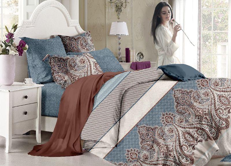 Комплект белья Primavera Classic. Паттерн, 1,5-спальный, наволочки 70x70, цвет: синий93179