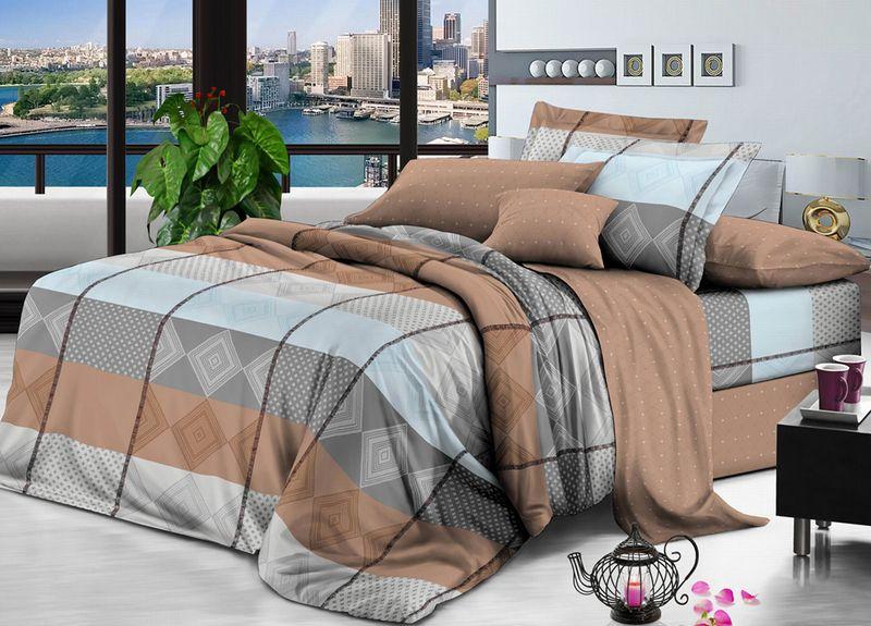 Комплект белья Primavera Classic. Ромб. Классика, 1,5-спальный, наволочки 70x70, цвет: коричневый93881