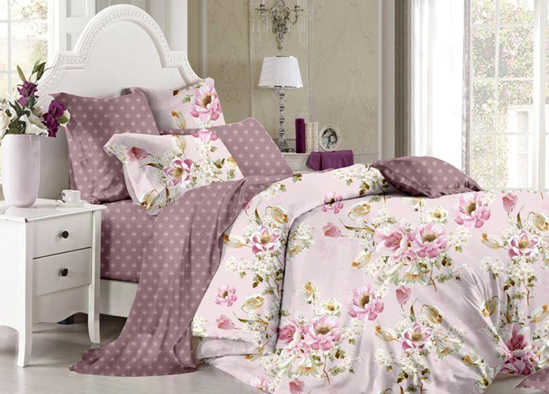 Комплект белья Primavera Classic. Цветочный вальс, евро, наволочки 70x70, цвет: розовый95732