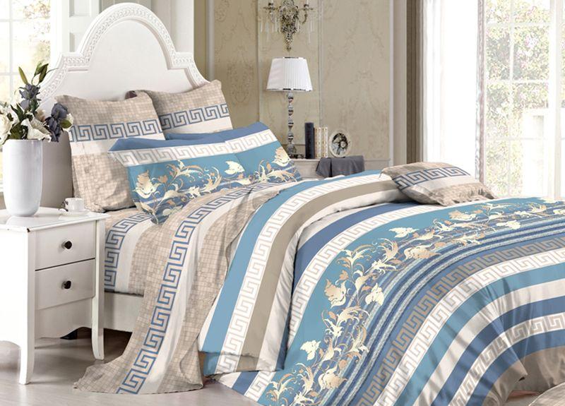 Комплект белья Primavera Classic. Греческий узор-2, семейный, наволочки 70x70, цвет: синий95750