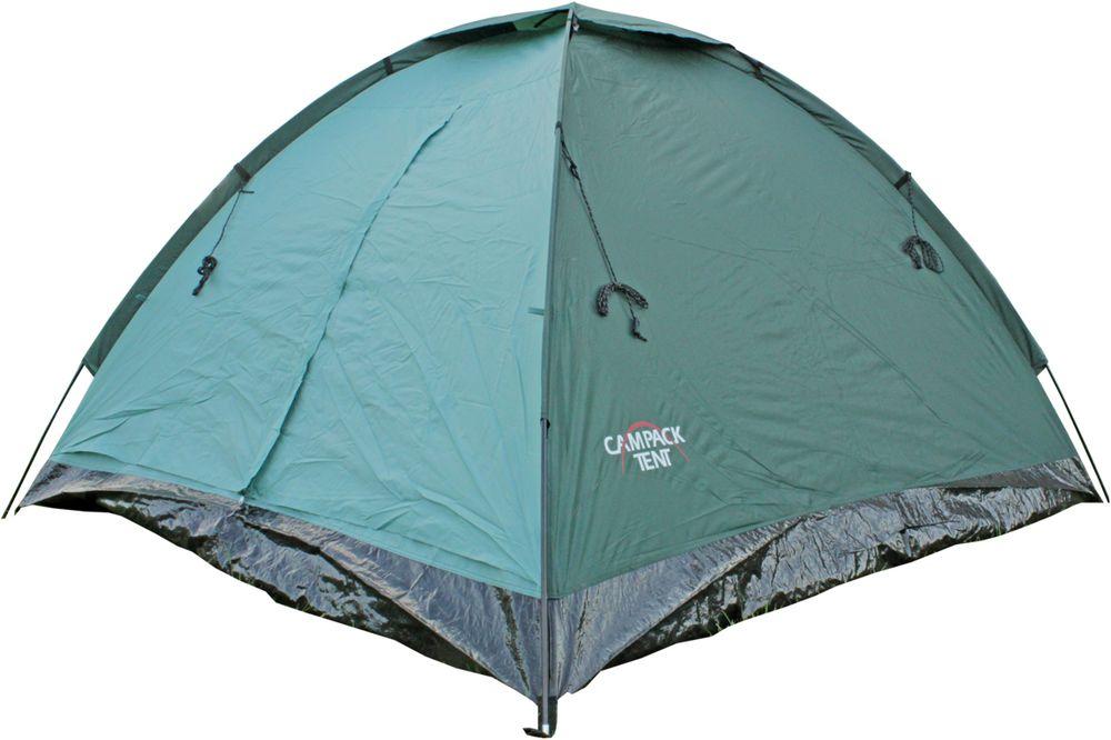 Палатка туристическая Campack Tent Dome Traveler 3, 3-х местная, цвет: зеленый, черный62411Компактная туристическая палатка Dome Traveler для несложных походов и кемпинга. Легкий вес, простота сборки, компактность - основные отличительные особенности данной модели. Палатка оснащена москитными сетками и вентиляционными окнами. Усиленный пол из армированного полиэтилена надежно защитит от влаги. Ткань тента:185T P. Taffeta PU 2000MMТкань дна: TarpaulingВес: 2,4 кгДиаметр дуг: 7,9 мм