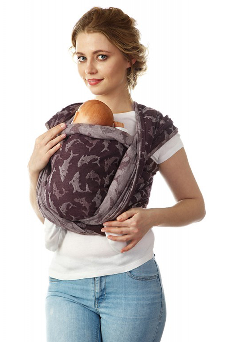 Mum's Era Слинг-шарф Акулы цвет коричневый 470 см, Современная мама