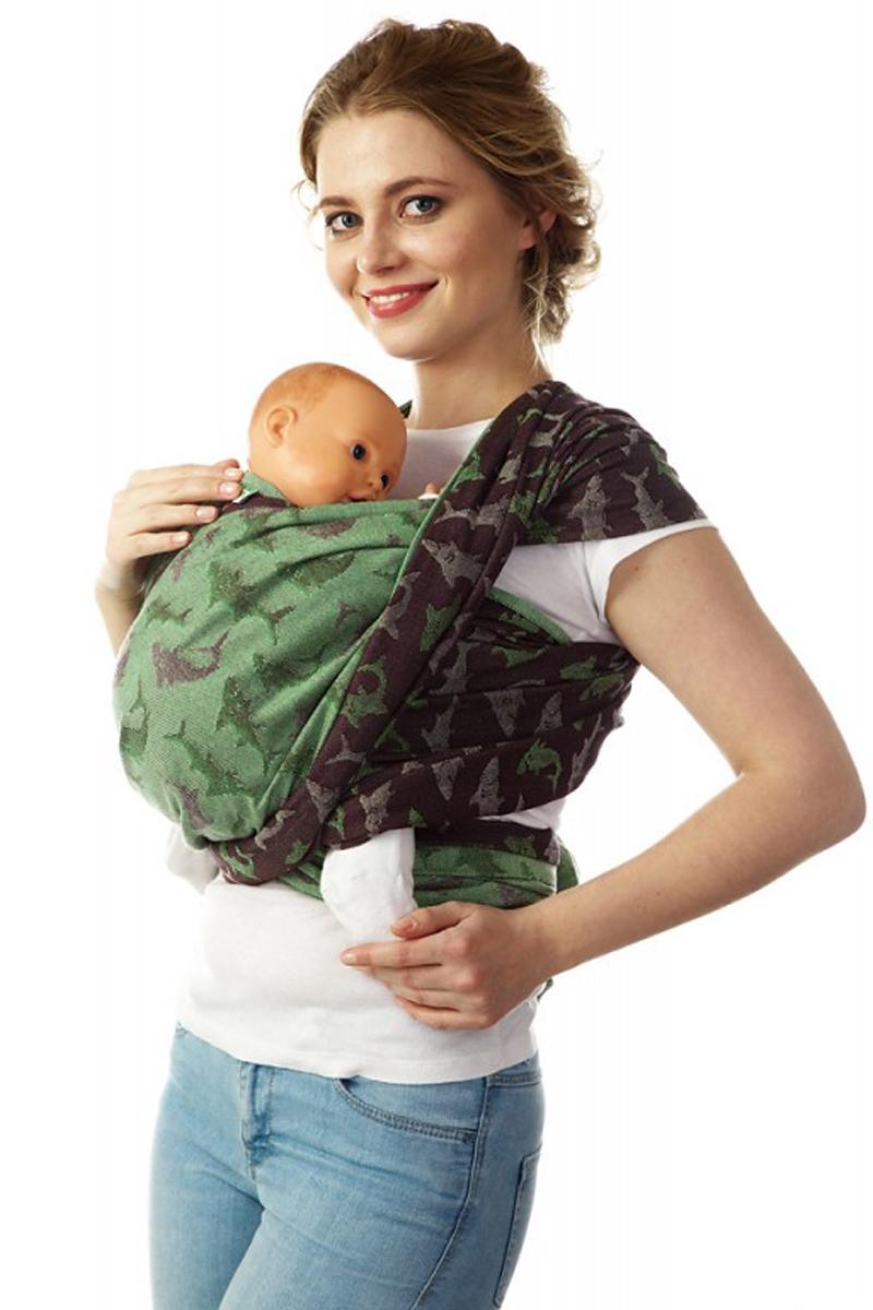 Mum's Era Слинг-шарф Акулы цвет лайм 470 см -  Рюкзаки, слинги, кенгуру
