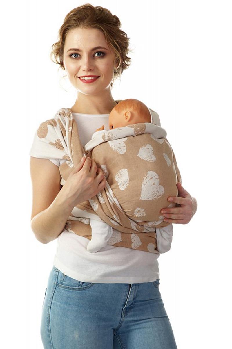 Mum's Era Слинг-шарф Сердца цвет карамель 470 см -  Рюкзаки, слинги, кенгуру