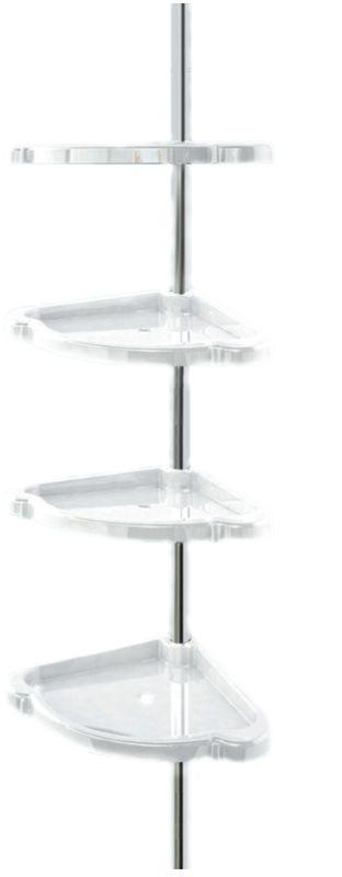 Полка для ванной комнаты Berossi Стелла, угловая, распорная, цвет: белый, 21 х 21 х 192 смАС 15401000Изделие представляет собой хромированную перекладину высотой 192 ± 10 см, установка которой не требует сверления, благодаря распорному механизму, плотно фиксирующему трубку между полом и потолком. На штанге расположены четыре пластиковые полочки, которые вращаются вокруг своей оси и могут передвигаться выше или ниже, в зависимости от высоты предметов на них. Бортики на полках предотвращают падение стоящих на них предметов. На каждой подставке есть крючок для навешивания. Все элементы изделия отличаются влагостойкостью и прочность. Может использоваться не только в ванной, но и в прихожей, кухне, на балконе и т. д.