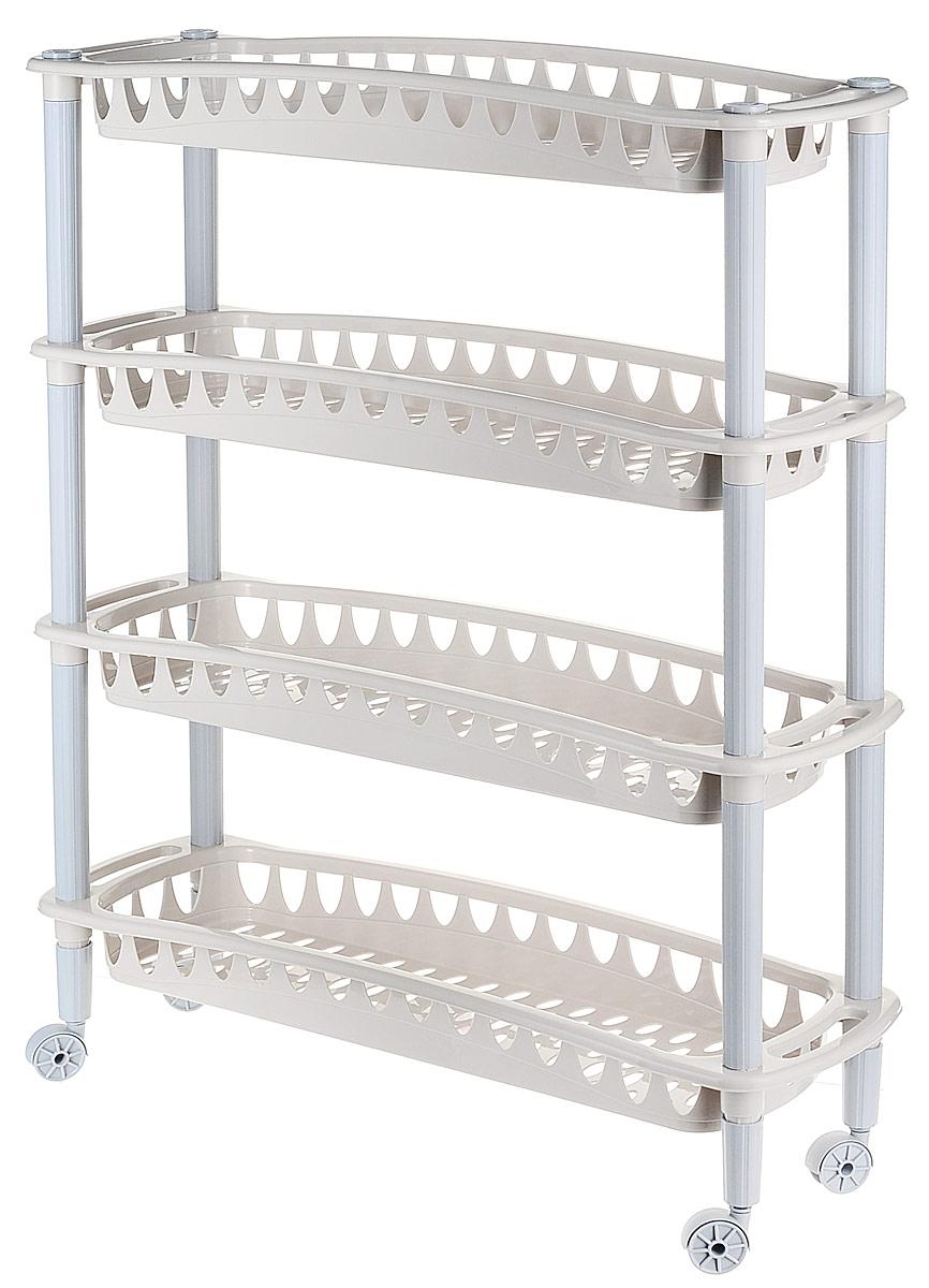 Этажерка Бытпласт Джулия, 4-х секционная, на колесиках, цвет: бежево-серый, 59 х 18 х 73 смС12414_бежево-серыйЭтажерка Бытпласт Джулия выполнена из высококачественного прочного пластика и предназначена для хранения различных предметов. Изделие имеет 4 полки прямоугольной формы с перфорированными стенками. Благодаря колесикам этажерку можно перемещать в любую сторону без особых усилий.В ванной комнате вы можете использовать этажерку для хранения шампуней, гелей, жидкого мыла, стиральных порошков, полотенец и так далее.Ручной инструмент и детали в вашем гараже всегда будут под рукой. Удобно ставить банки с краской, бутылки с растворителем.В гостиной этажерка позволит удобно хранить под рукой книги, журналы, газеты.С помощью этажерки также легко навести порядок в детской, она позволит удобно и компактно хранить игрушки, письменные принадлежности и учебники.Этажерка - это идеальное решение для любого помещения. Она поможет поддерживать чистоту, компактно организовать пространство и хранить вещи в порядке, а стильный дизайн сделает этажерку ярким украшением интерьера.Размер этажерки: 59 см х 18 см х 73 см. Размер полки: 59 см х 18 см х 6,5 см.