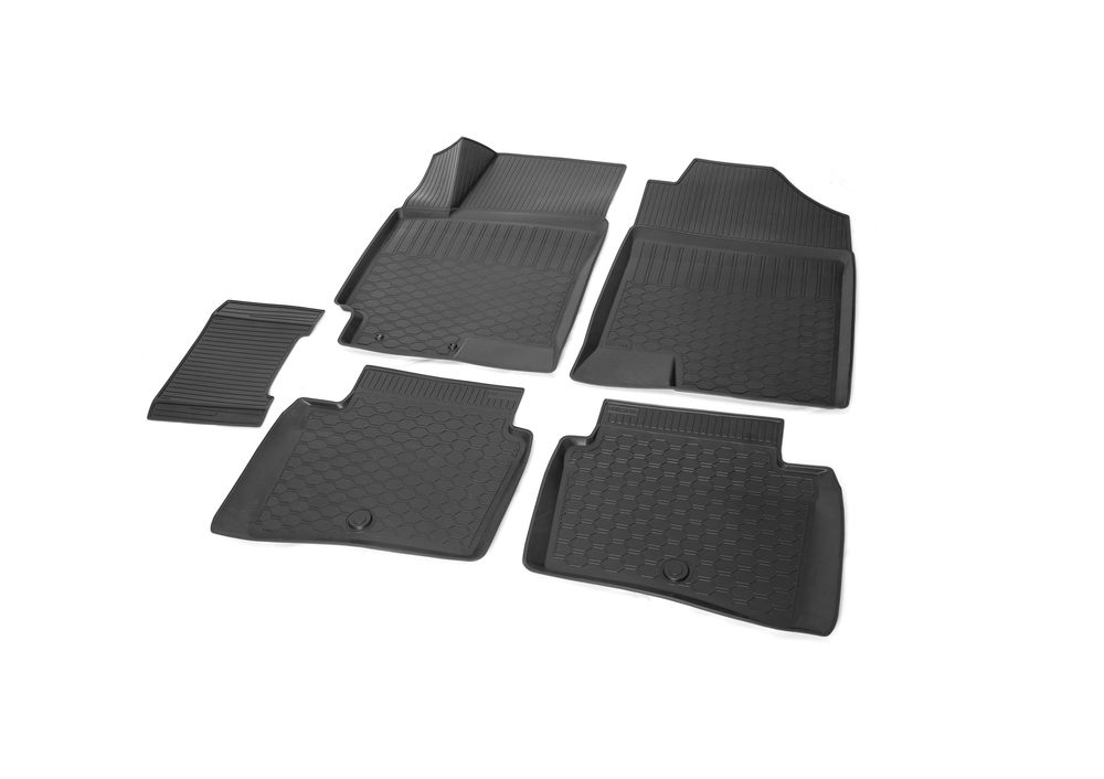 Коврики салона Rival для Hyundai Solaris (SD) 2017-/ Kia Rio (SD) 2017-, c перемычкой между задними ковриками, полиуретан12305007Прочные и долговечные коврики Rival в салон автомобиля, изготовлены из высококачественного и экологичного сырья. Коврики полностью повторяют геометрию салона вашего автомобиля.- Надежная система крепления, позволяющая закрепить коврик на штатные элементы фиксации, в результате чего отсутствует эффект скольжения по салону автомобиля.- Высокая стойкость поверхности к стиранию.- Специализированный рисунок и высокий борт, препятствующие распространению грязи и жидкости по поверхности коврика.- Перемычка задних ковриков в комплекте предотвращает загрязнение тоннеля карданного вала.- Коврики произведены из первичных материалов, в результате чего отсутствует неприятный запах в салоне автомобиля.- Высокая эластичность, можно беспрепятственно эксплуатировать при температуре от -45°C до +45°C. Уважаемые клиенты! Обращаем ваше внимание, что коврики имеют форму, соответствующую модели данного автомобиля. Фото служит для визуального восприятия товара.