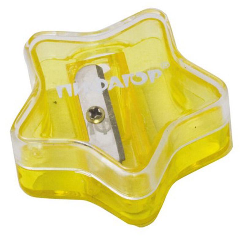Пифагор Точилка Звездочка с контейнером цвет желтый222499_желтыйУдобная точилка Пифагор Звездочка с контейнером оснащена безопасной системой заточки.Эта система предотвращает отделение лезвия от точилки. Качественное стальное лезвие обеспечивает лёгкое, равномерное затачивание карандашей. Контейнер для стружки изготовлен из цветного тонированного пластика. Идеально подходит для заточки графитовых и цветных карандашей.