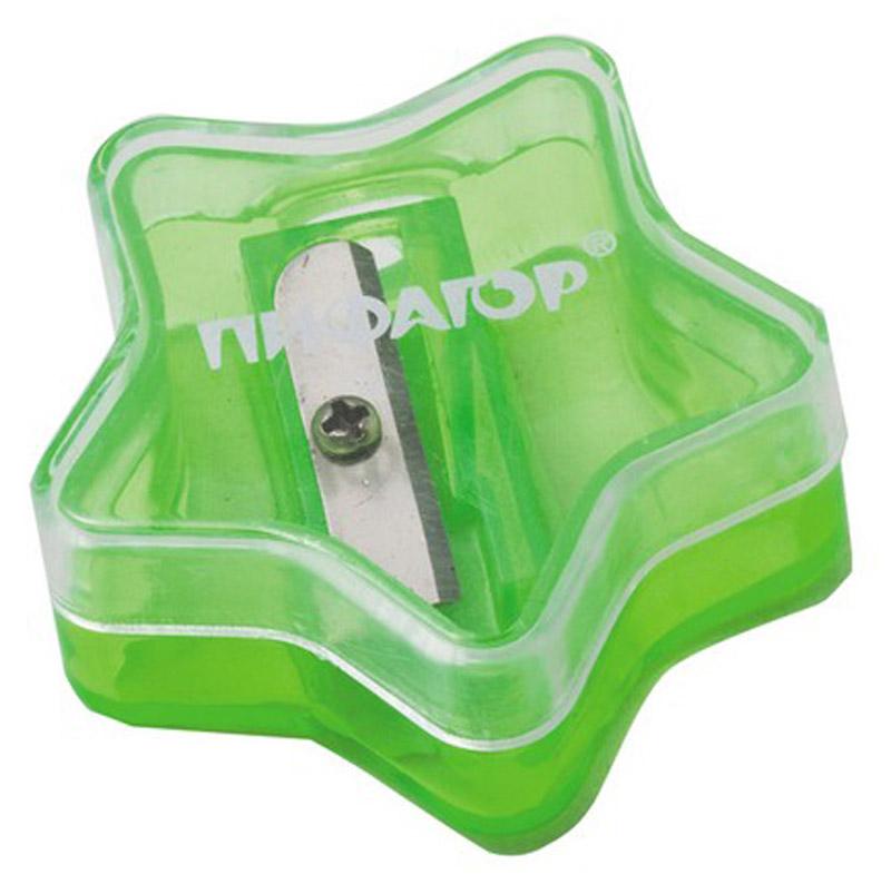 Пифагор Точилка Звездочка с контейнером цвет зеленый222499_зеленыйУдобная точилка Пифагор Звездочка с контейнером оснащена безопасной системой заточки.Эта система предотвращает отделение лезвия от точилки. Качественное стальное лезвие обеспечивает лёгкое, равномерное затачивание карандашей. Контейнер для стружки изготовлен из цветного тонированного пластика. Идеально подходит для заточки графитовых и цветных карандашей.