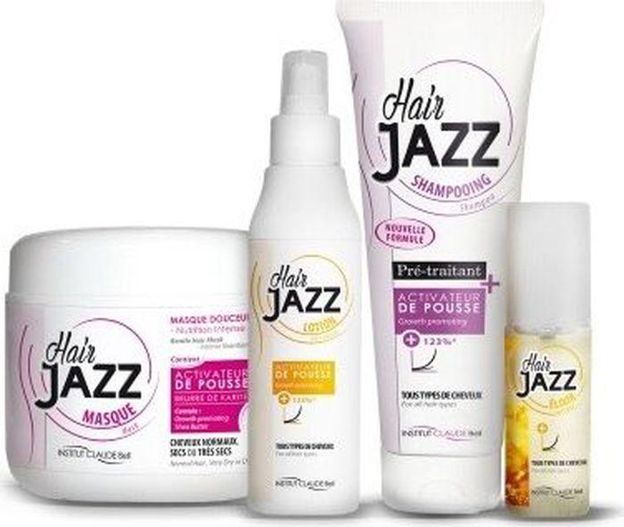 HairJAZZ Комплект Premium для роста волос: шампунь, 250 мл, маска, 500 мл, лосьон, 200 мл и эликсир, 50 мл1S1M1L1EСредства HairJAZZ - это косметические средства для роста волос. Изготовлены во Франции. Не являются лекарственными средствами и не содержат гормонов. Натуральные активные компоненты формулы средств HairJAZZ, такие как соевый белок, экстракт яичной скорлупы, кератин, витамин B6, восстанавливая здоровье кожи головы и питая фолликулы, стимулируют рост волос. Факт ускорения роста волос при комплексном применении средств HairJAZZ подтвержден клиническими испытаниями.