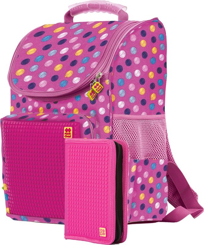 Pixie Crew Рюкзак детский цвет розовый PXB-22-G15PXB-22-G15Рюкзак детский с органайзером Pixie Crew со специальной силиконовой панелью размером 40х22 линий (всего 861 пиксель), позволяет с помощью входящего в комплект базового набора пикселей создать индивидуальную картинку. Базовый комплект пикселей: 200 шт.