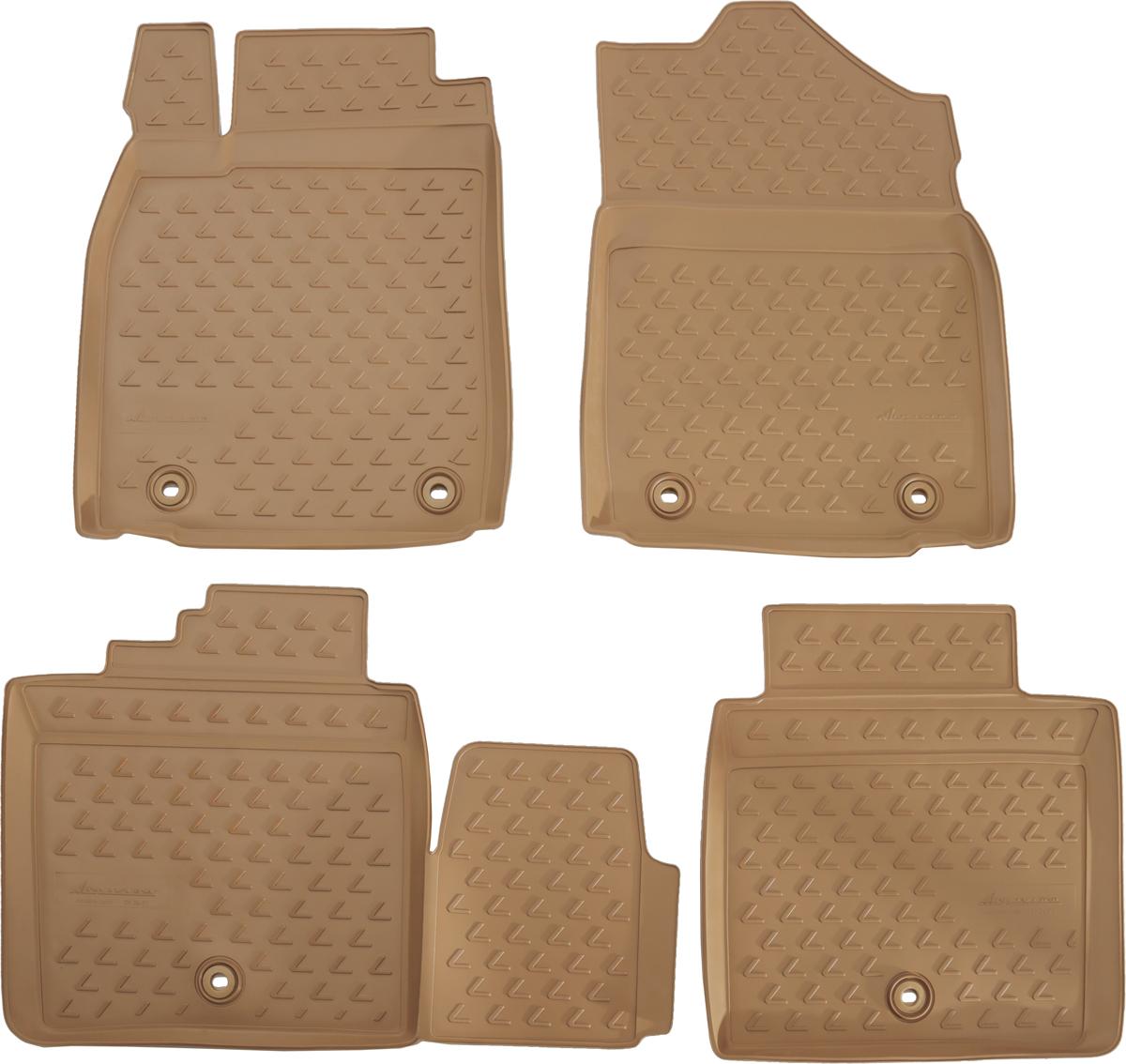 Коврики в салон автомобиля Novline-Autofamily, для Lexus ES 250/350, 300h, 2012->, цвет: бежевый, 4 штNLC.29.26.212kКоврики Novline-Autofamily улучшат внешний вид салона автомобиля и надежно уберегут его от пыли, грязи и сырости, а значит, защитят кузов от коррозии. Полиуретановые коврики гладкие, приятные и не пропускает влагу. Полиуретановые автомобильные коврики произведены из высококачественного материала, который держит форму и не пачкает обувь. Коврики надежно крепятся на полу и не скользят, что очень важно во время движения, особенно для водителя. Изделия из полиуретана надежно удерживают грязь и влагу, при этом всегда выглядят довольно опрятно. И чистятся они очень просто: как при помощи автомобильного пылесоса, так и различными моющими средствами.
