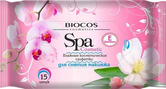 BioCos Влажные салфетки SPA Cosmetic, для снятия макияжа, 15 шт12248