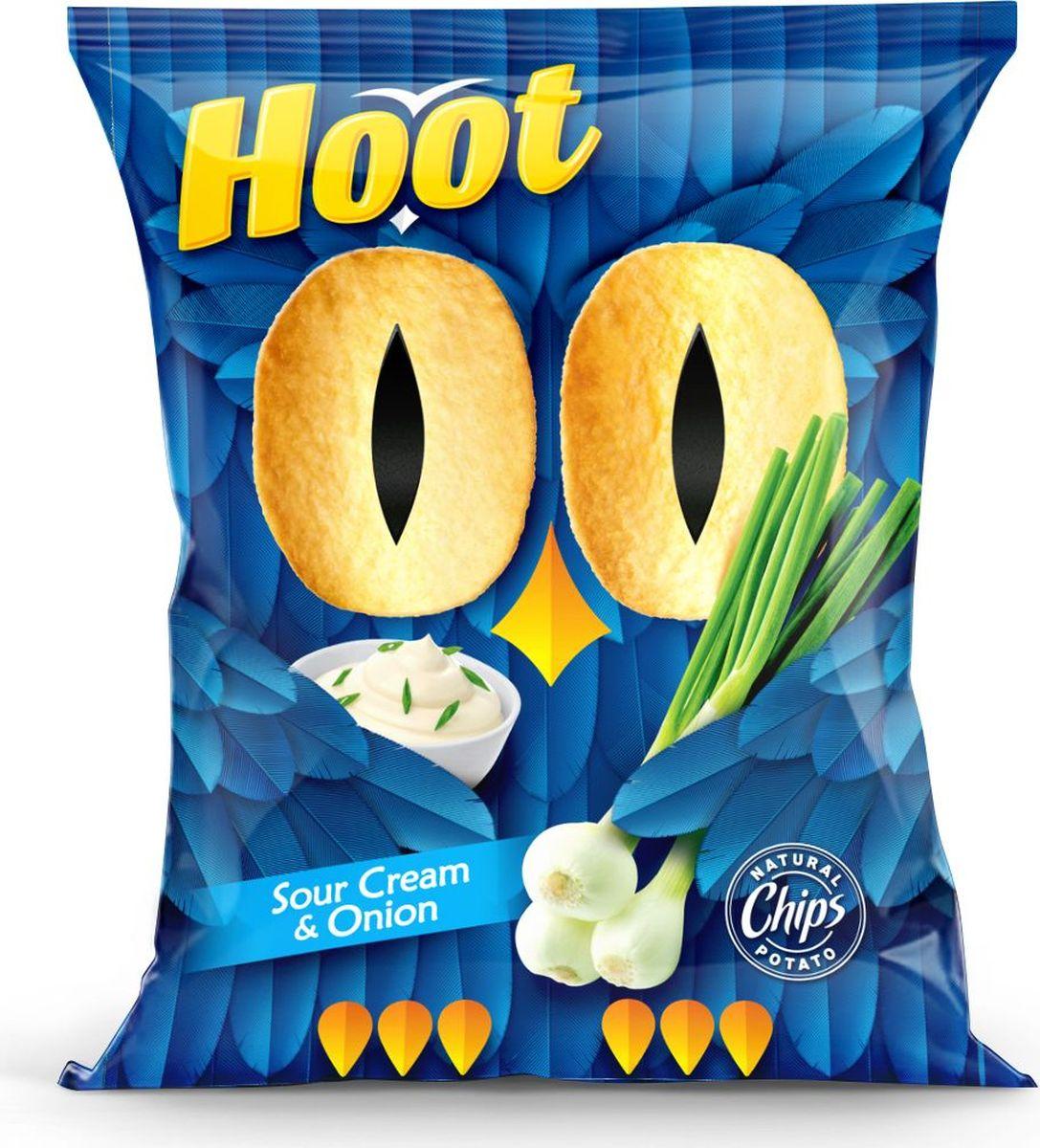 Hoot Чипсы, сметана-лук, 80 г4760156030349Картофельные чипсы со вкусом «Сметаны и лука»