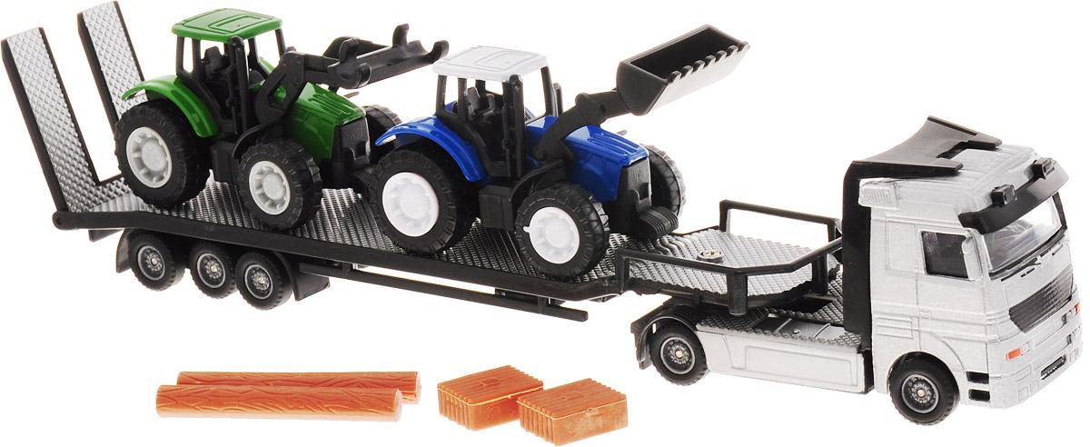 HTI Игровой набор Перевозчик трактора цвет серебристый