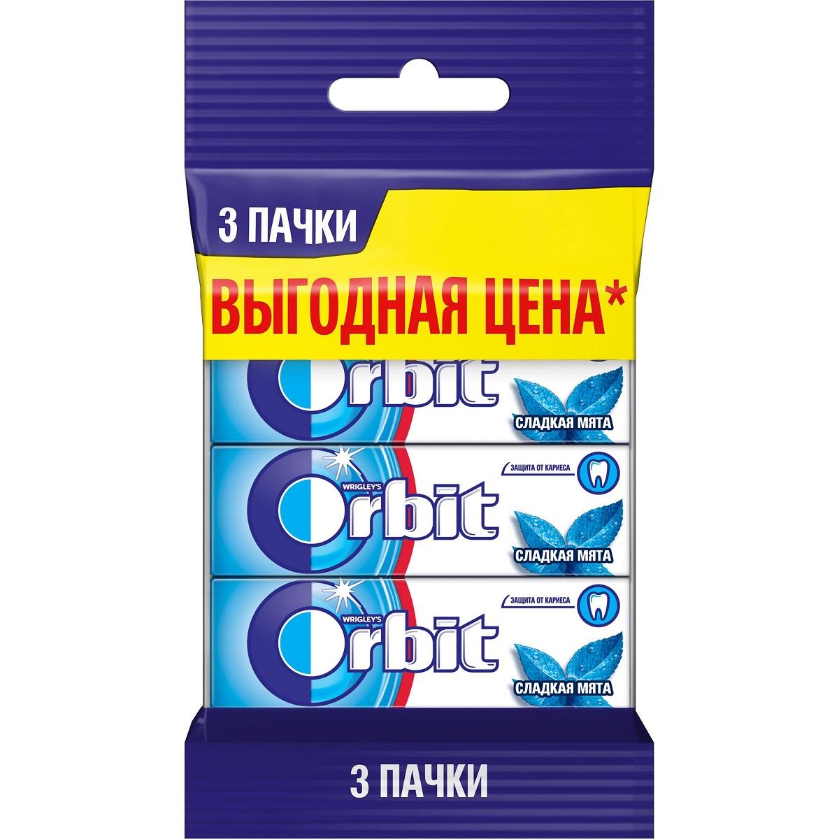 Orbit Сладкая мята жевательная резинка без сахара 3 пачки по 13,6 г3 пачкиЖевательная резинка Orbit® Сладкая Мята без сахара способствует поддержанию здоровья зубов: удаляет остатки пищи, способствует уменьшению зубного налета, нейтрализует вредные кислоты, усиливает процесс реминерализации эмали. *Употребление жевательной резинки каждый раз после еды способствует поддержанию чистоты и здоровья зубов в дополнение к уходу за ротовой полостью с помощью зубной щетки
