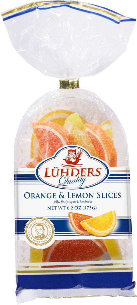 Luehders мармелад апельсиновые и лимонные дольки, 175 г901Мармелад с апельсиновым и лимонным вкусом в нежной сахарной корочке.