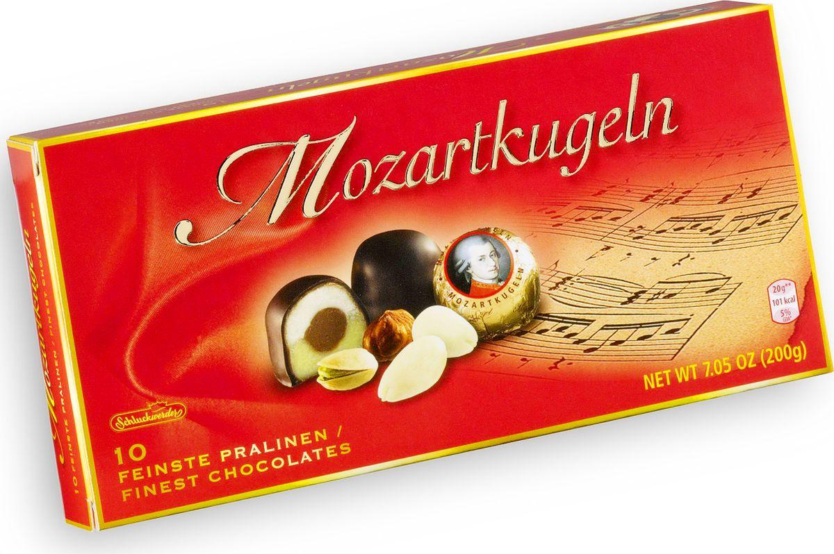 Schluckwerder Моцарт шоколадные конфеты, 200 г951Любекский марципан с высоким содержанием миндаля и фисташек.