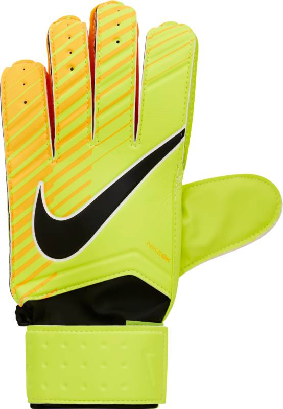 Перчатки вратарские Nike Match Goalkeeper, цвет: оранжевый, размер 8GS0344-715Unisex Nike Match Goalkeeper Football GlovesФутбольные перчатки унисекс Nike Match Goalkeeper смягчают нагрузку от удара мяча и обеспечивают оптимальный захват и контроль мяча в любых погодных условиях.Пеноматериал на основе латекса обеспечивает превосходное сцепление в любых условиях.Манжета с застежкой на липучке для регулируемой посадки.Перфорация в области пальцев усиливает вентиляцию