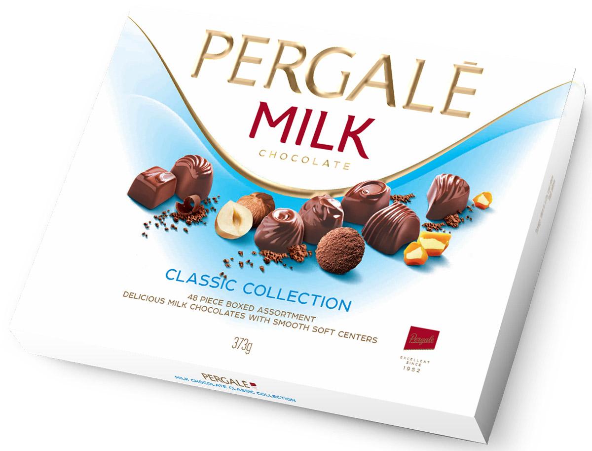 Pergale Набор конфет из молочного шоколада ассорти, 373 г10645Лидирующая фабрика стран Балтии, кондитерские изделия которой славятся своим качеством и оригинальными рецептами вот уже более 60 лет. Внутри элегантной упаковки находятся шоколадные конфеты с различными нежными начинками, которые позволят насладиться невероятным вкусом конфет.Уважаемые клиенты! Обращаем ваше внимание, что полный перечень состава продукта представлен на дополнительном изображении.
