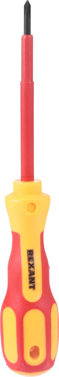 Отвертка крестовая Reхant Электрика, PH 0 х 75 мм12-4715Отвертка Reхant Электрика предназначена для электромонтажных работ, монтажа/демонтажа крепежных соединений. Стержень отвертки, выполненный из высококачественной хромованадиевой стали с оксидированным намагниченным наконечником, покрыт специальным изоляционным материалом. Эргономичная изолированная двухкомпонентная рукоятка делает работу с инструментом легкой и удобной.Длина жала: 7,5 см.Общая длина отвертки: 16 см.