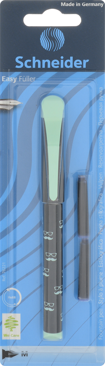 Перьевая ручка с чернильными картриджами стандартного формата, чернила ярко-синего цвета, стираются.Подходит для письма как правой, так и левой рукой.
