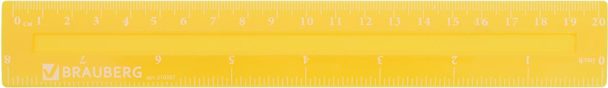Brauberg Линейка Crystal Vivid цвет желтый 20 см210287_желтыйЛинейка Brauberg Crystal Vivid изготовлена из флуоресцентного прочного пластика. Имеет две чёткие контрастные шкалы делений см и дюймы (inch). Предназначена для чертёжных работ. Две шкалы - 20 см/8.Толщина пластика - 2,2 мм.