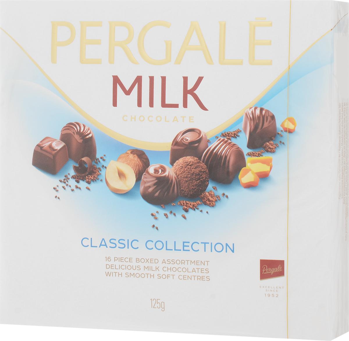 Pergale Набор конфет из молочного шоколада ассорти, 125 г10648Лидирующая фабрика стран Балтии, кондитерские изделия которой славятся своим качеством и оригинальными рецептами вот уже более 60 лет. Внутри элегантной упаковки находятся шоколадные конфеты с различными нежными начинками, которые позволят насладиться невероятным вкусом конфет.Уважаемые клиенты! Обращаем ваше внимание, что полный перечень состава продукта представлен на дополнительном изображении.