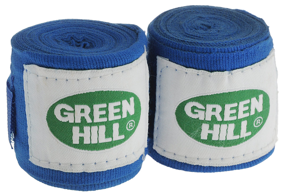 Бинт боксерский Green Hill, цвет: синий, белый, 3,5 м, 2 штВР-6232-35_синий, белыйБоксерский бит Green Hill изготовлен из хлопка с добавлением эластана. Он растягивается, обеспечивает плотное стягивание кистей рук, крепится на липучке. Боксерский бинт используется для бинтования кистей рук, для предотвращения травм суставов пальцев, обеспечивается такая защита путем плотного стягивания пальцев бинтом друг к другу, что создает единую площадь удара и способствует распределению нагрузки. Бинт впитывает пот ладоней, не давая загрязняться внутренней части перчаток.Длина бинтов: 3,5 м.Ширина бинтов: 5 см.
