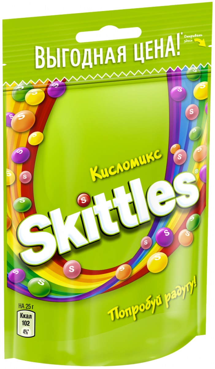 Skittles Кисломикс драже в сахарной глазури, 100 г4009900481090Жевательные конфеты Skittles Кисломикс c разноцветной глазурью предлагают радугу кислых фруктовых вкусов в каждой упаковке! Конфеты с ароматами малины, ананаса, мандарина, вишни и яблока: заразитесь радугой, попробуйте радугу!Уважаемые клиенты! Обращаем ваше внимание, что полный перечень состава продукта представлен на дополнительном изображении.