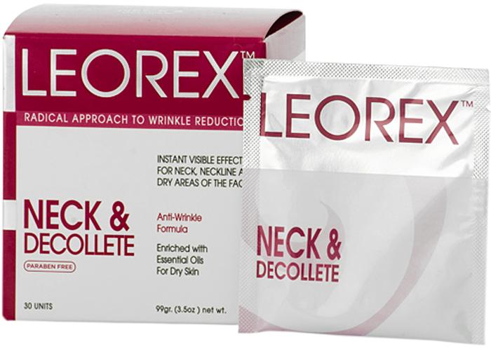 Leorex Neck Dеcolletе Гипоаллергенная нано-маска от морщин для шеи и зоны декольте, 3,3 мл х 30 шт7290011784102Разработанная специалистами наноформула маски гипоаллергенна, активные компоненты и входящие в состав натуральные растительные масла предотвращают появление новых морщин, корректируют возрастные изменения, устраняют сухость и отечность кожи. Маска предназначена для эффективного разглаживания морщин, за счет нормализации лимфооттока, кровообращения в мелких капиллярах, снятия мышечного напряжения. Маска питает кожу, делает ее эластичной и упругой, глубоко проникая в слой эпидермиса. Средство можно использовать для устранения морщин не только в области шеи и декольте, но и наносить на носогубные складки. В составе находятся натуральные компоненты: масло жожоба, сладкого миндаля, шиповника и облепихи, а также экстракт ромашки, алоэ вера, арники, витамина А и Е, диоксид кремния и сульфат цинка. Перед нанесением необходимо активировать - размять пакетик перед его вскрытием до образования однородной консистенции, после этого нанести на очищенное лицо. Держать средство 15 минут, затем смыть.