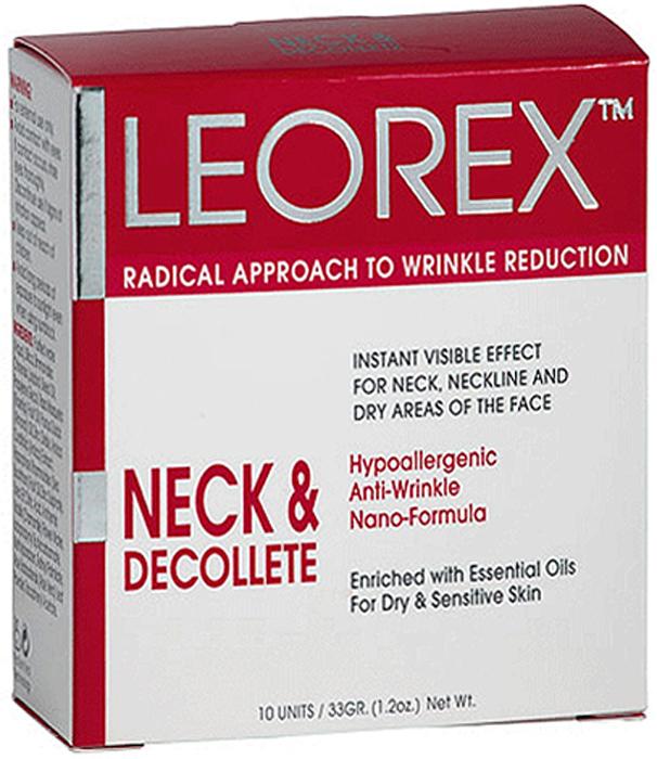 Leorex Neck Dеcolletе Гипоаллергенная нано-маска от морщин для шеи и зоны декольте, 3,3 мл х 10 шт7290011784119Разработанная специалистами наноформула маски гипоаллергенна, активные компоненты и входящие в состав натуральные растительные масла предотвращают появление новых морщин, корректируют возрастные изменения, устраняют сухость и отечность кожи. Маска предназначена для эффективного разглаживания морщин, за счет нормализации лимфооттока, кровообращения в мелких капиллярах, снятия мышечного напряжения. Маска питает кожу, делает ее эластичной и упругой, глубоко проникая в слой эпидермиса. Средство можно использовать для устранения морщин не только в области шеи и декольте, но и наносить на носогубные складки. В составе находятся натуральные компоненты: масло жожоба, сладкого миндаля, шиповника и облепихи, а также экстракт ромашки, алоэ вера, арники, витамина А и Е, диоксид кремния и сульфат цинка. Перед нанесением необходимо активировать - размять пакетик перед его вскрытием до образования однородной консистенции, после этого нанести на очищенное лицо. Держать средство 15 минут, затем смыть.