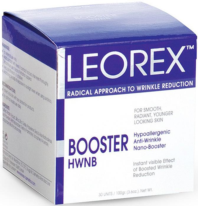 Leorex Booster Active Гипоаллергенная нано-маска для экспресс-разглаживания морщин, 3,3 мл х 30 шт7290011784324Гипоаллергенная маска Leorex Booster Active предназначена для устранения морщин, которые появились в результате возрастных изменений. Видимый эффект, проявляющийся в подтягивании и разглаживании кожи, наступает уже через 20 минут после применения. Поэтому, средство можно наносить перед торжественным мероприятием, как способ мгновенного омоложения.Маска активизирует регенерацию поврежденных клеток дермы лица и укрепляет ее на глубинном уровне благодаря особому сочетанию составляющих. При регулярном использовании средство придает коже гладкость, делает ее более упругой, замедляет естественный процесс старения, отшелушивает мертвые клетки, работает на предупреждение воспалительных процессов. Способ применения: пакетик с препаратом размять в руке, активировав состав. После чего нанести тонким слоем на предварительно очищенную и увлажнённую водой кожу. Полностью высохшую аппликацию следует тщательно смыть. Нанести на кожу косметическое средство по возрасту и типу кожи.