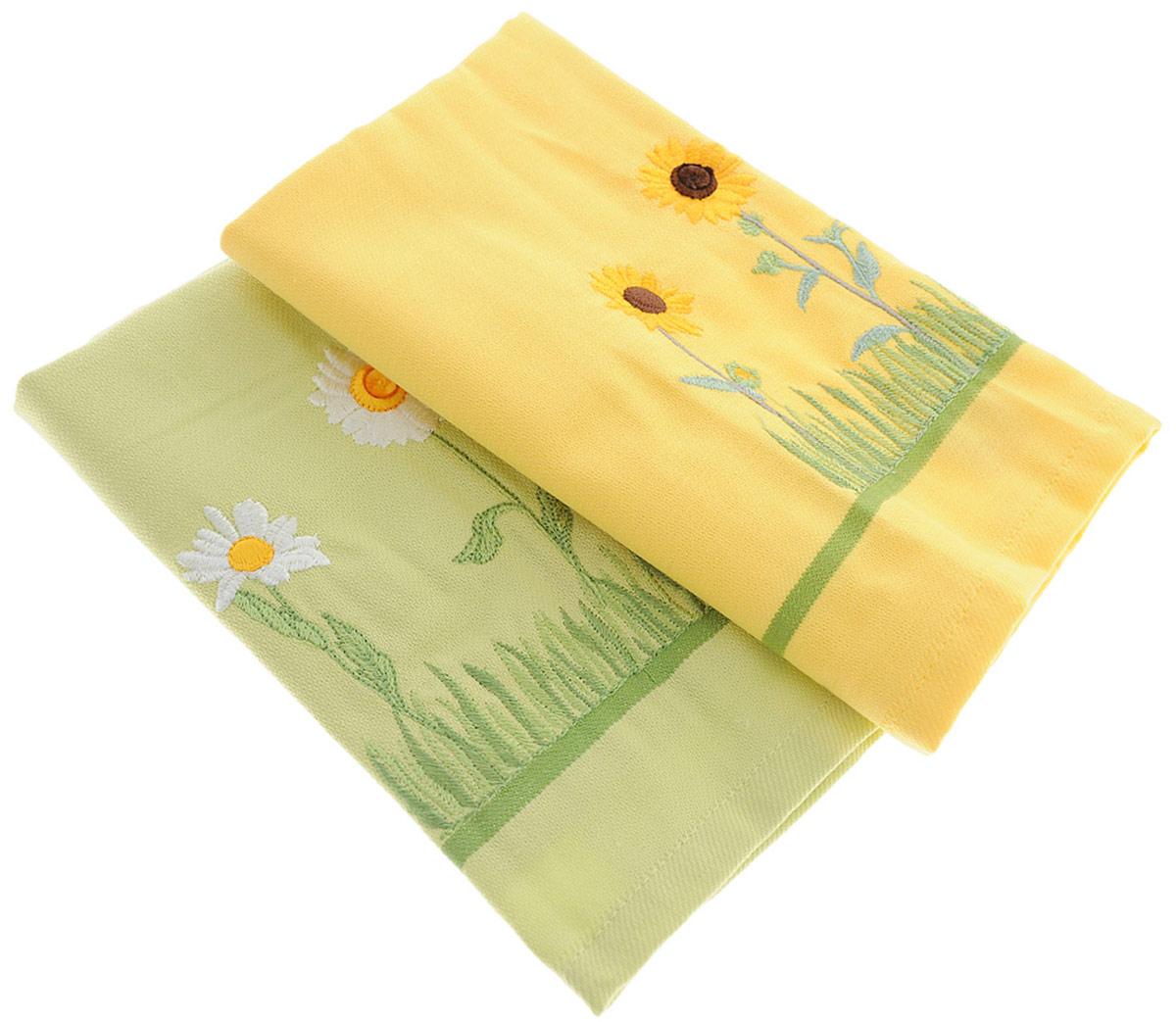 Набор полотенец Bonita Цветы. Ромашки. Подсолнух, цвет: желтый, салатовый, 40 х 60 см, 2 шт1010215378_желтый, салатовыйНабор полотенец Bonita, изготовленный из натурального хлопка, идеально дополнит интерьер вашей кухни и создаст атмосферу уюта и комфорта. В набор входят два вафельных полотенца, которые оформлены вышивкой в виде корзин с грушами и малиной.Изделия выполнены из натурального материала, поэтому являются экологически чистыми. Высочайшее качество материала гарантирует безопасность не только взрослых, но и самых маленьких членов семьи.
