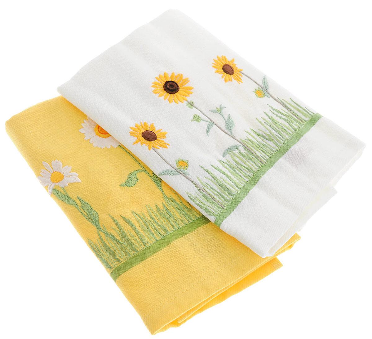 """Набор полотенец Bonita """"Цветы. Ромашки. Подсолнух"""", цвет: желтый, белый, 40 х 60 см, 2 шт"""