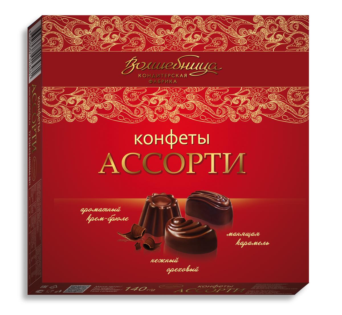 Волшебница конфеты ассорти (красные), 140 г1.8236Мини набор ассорти из 3-х видов конфет с любимыми вкусами: шоколадным и карамельным, шоколадным и крем-брюле, шоколадным и ореховым. Стиль минимализм. Чистота и ясность. Чтобы порадовать себя и близких просто так безо всякого повода.
