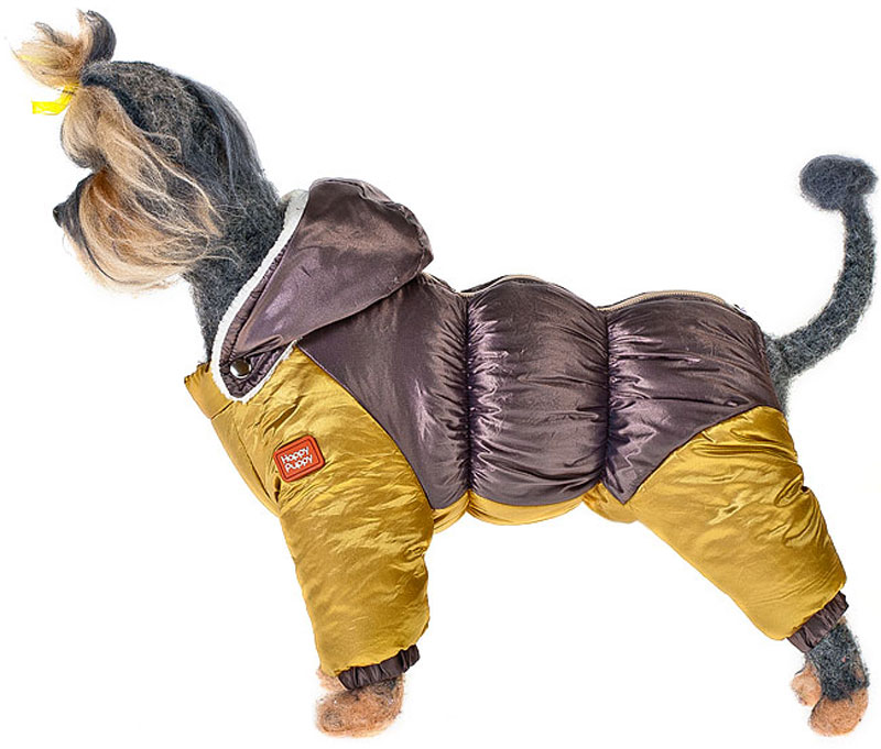 Пуховик для собак Happy Puppy, для мальчика, цвет: бронзовый, золотой. Размер XLHP-160054-4