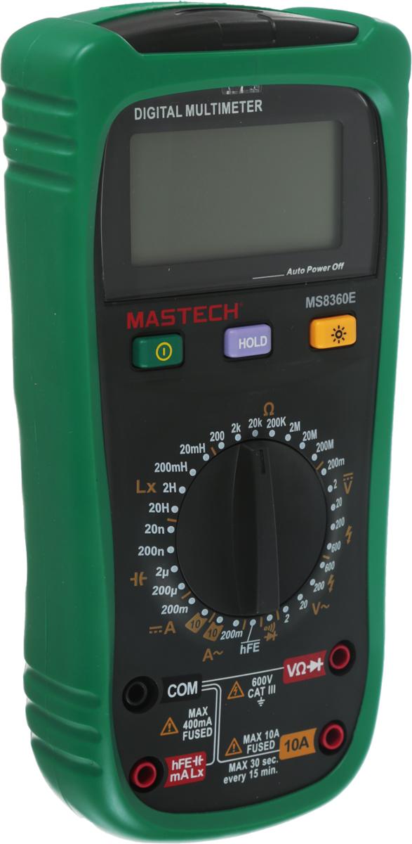 Измеритель емкости и индуктивности Mastech MS8360E13-2028Мульти?метр —электроизмерительный прибор который включает в себя несколько функций и набор измеряемых параметров. Все приборы серии MS8360 измеряют постоянное и переменное напряжение, а так же постоянный и переменный ток, сопротивление в цепи, емкость и индуктивность. С помощью данного прибора можно проводить тестирование диодов, прозвонку целостности цепи и измерение коэффициента усиления транзисторов. Кроме того мультиметр MS8360E оборудован специальным датчиком (NCV), с помощью которого вы бесконтактно сможете определить есть ли напряжение на участке, например в розетке, если есть необходимость демонтировать ее, то с помощью данного мультиметра вы сможете сразу узнать если ли в ней напряжение. Таким образом, один прибор сможем заменить сразу несколько устройств одновременно. Прибор MS8360E является портативным мультиметром, компактные размеры позволяют всегда носить его с собой. Но, несмотря на размеры, данный мультиметр обладает широким функционалом и это выгодно отличает его от других. Прибор имеет функцию удержания результата измерений Data hold, для тех случаев, когда измерения проводятся в труднодоступных местах и не всегда есть возможность взглянуть на экран. Дисплей прибора оснащен подсветкой, которая позволяет проводить измерения даже в слабоосвещенных местах. Инженеры старались сделать прибор максимально удобным для использования. Выбор измеряемых величин и пределов измерений производиться с помощью усиленного поворотного регулятора, благодаря которому исключается возможность случайного нажатия. Прибор изготовлен из высококачественных материалов, калибровка и тестирование приборов произведено под контролем компании REXANT INTERNATIONAL.Характеристики:Постоянное напряжение: 200mВ/2В/20В/200В/6000В (±0,5%+2)Переменное напряжение: 2В/20В/200В/600В (0,8%+3)Постоянный ток: 200мкА (±1.0 % +5), 10A (±2,0%+5)Переменный ток: 200мкА (±1.5 % +5), 10A (±3,0%+5)Сопротивление: 200Ом/2КОм/20КОм/200Ком/2МОм (±0.8%