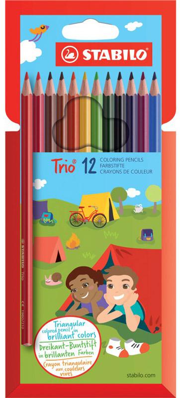 Карандаши цветные Stabilo Trio, 12 цветов1960/12-01Серия цветных карандашей STABILO Trio. Трехгранная форма карандаша предотвращает усталость детской руки при рисовании и позволяет привить ребенку навык правильно держать пишущий инструмент. Карандаши имеют широкую гамму цветов, которые отлично смешиваются и позволяют создавать огромное количество оттенков. Насыщенные цвета имеют высокую светостойкость. В состав грифелей входит пчелиный воск, благодаря чему грифели легко рисуют на бумаге, не царапая ее и не крошась, и обладают повышенной устойчивостью к нагрузкам. Карандаши не ломаются при рисовании и затачивании. Характеристики:Материал:дерево. Диаметр карандаша:0,7 см. Диаметр грифеля:2,5 мм. Длина карандаша:17,5 см. Толщина письма:0,1 см. Размер упаковки:10,5 см х 17,5 см х 1 см. Изготовитель:Германия.