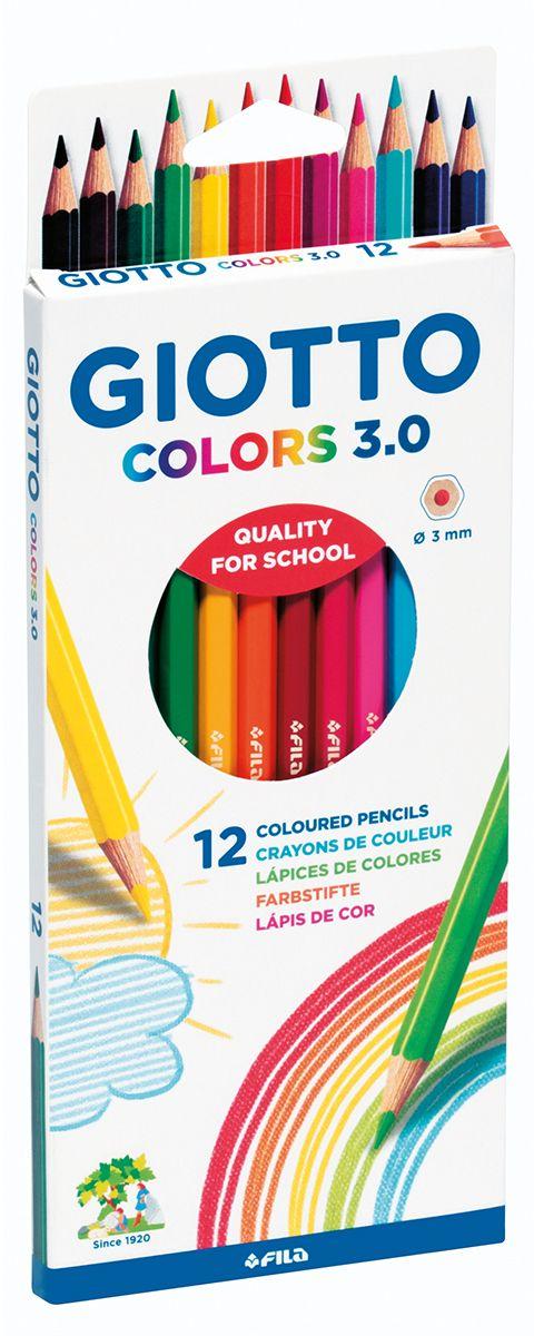 Giotto Набор цветных карандашей Colors 3.0 12 шт276600Цветные деревянные карандаши, 12 цветов. Гексагональной формы. Изготовлены из сертифицированной древесины. Легко и экономично затачиваются, не крошатся. Толщина грифеля - 3 мм. Яркие насыщенные цвета, мягкое рисование. На корпусе карандаша имеется место для персонализации. Идеально подходят для школы.