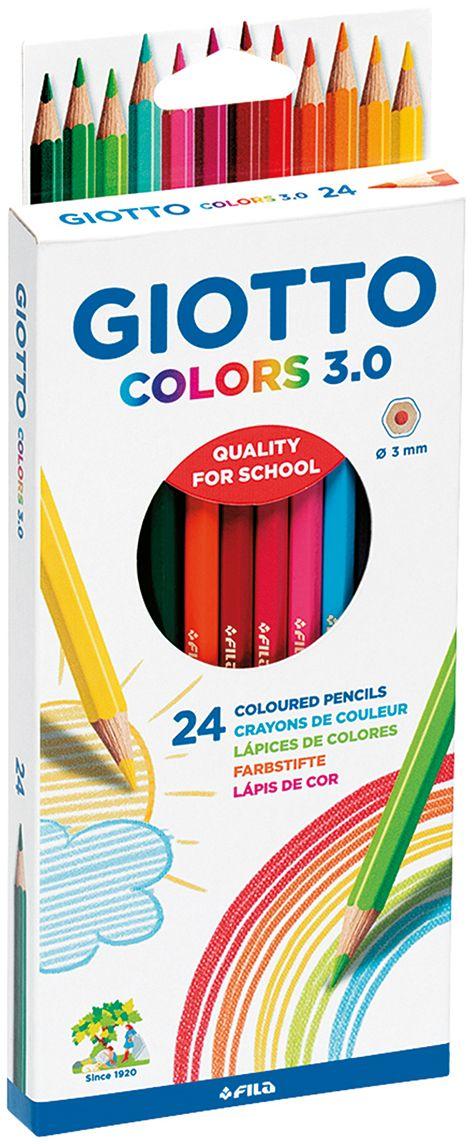 Giotto Набор цветных карандашей Colors 3.0 24 шт276700Цветные деревянные карандаши, 24 цвета, гексагональной формы. Изготовлены из сертифицированной древесины. Легко и экономично затачиваются, не крошатся. Толщина грифеля - 3 мм. Яркие насыщенные цвета, мягкое рисование. На корпусе карандаша имеется место для персонализации. Идеально подходят для школы.