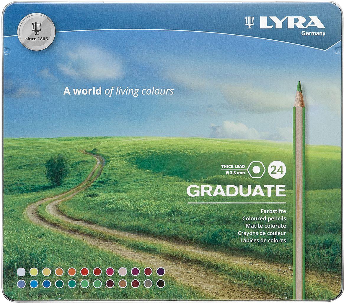 Lyra Набор цветных карандашей Graduate 24 шт L2871240L2871240Высококачественные цветные карандаши, 24 цвета, гексагональной формы. В металлическом пенале. Цвета с высокой покрывающей способностью и возможностью смешиваться при нанесении. Прочный грифель, с уникальным диаметром 3,8 мм. Корпус изготовлен из сертифицированного кедра. Легко затачиваются и экономично расходуются.
