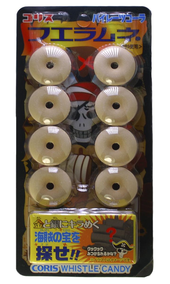 Coris конфета свистулька с игрушкой Пират, 22 г042554Конфеты Свистульки со вкусом колы, с игрушкой,22 гр, Япония. Вкусная необычная конфета-свистулька со вкусом золотой колы, в которую можно свистеть. С игрушкой сюрпризом.Состав: виноградный сахар, крахмал картофельный, ароматизатор идентичный натуральному , регулятор кислотности лактат кальция, сахар, глюкоза.